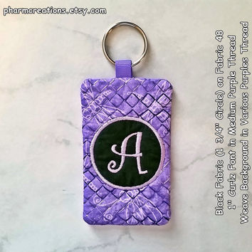 Ready to Ship - Circle Monogram Quilted Key Chain A Initial on Fabric 48 with Business / Gift Card Pocket Featuring Key Ring (Luggage Tag)