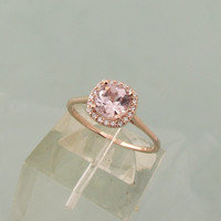 Engagement Ring Square Cushion Rose Pink Spinel Sapphire and Morganite Alternative in 14k Rose Gold or White Gold Diamond Halo Weddings