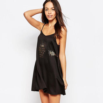 """Mink Pink"" Fashion Bronzing Totem Letter Print V-Neck Backless Sleeveless Strap Mini Dress"