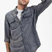 Collared Denim Work Shirt Denim Washed X-Small