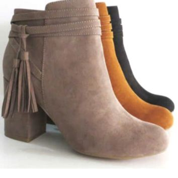 Strapped Bootie W/Fringe
