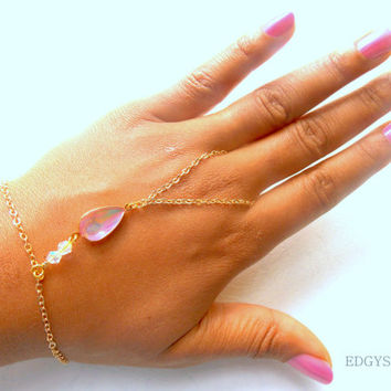 Gold Handchain with Pink Crystals and Gold plated chain, Dainty Chain Attached Ring, Edgy Hand piece,Statement Bracelet