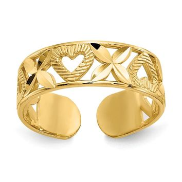 "14k Yellow Gold Diamond-cut "" X"" & Heart Toe Ring"