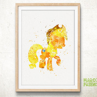 Pony Applejack - Watercolor Art Print, Room Decor, My Little Pony Poster, Home Baby Nursery Wall Art