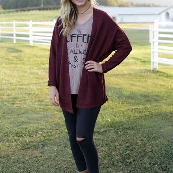 Record Dolman Sleeve Cardigan, Burgandy