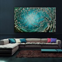 Teal Turquoise Landscape Painting, 48 Inch Tree Art, Contemporary Heavy Paint, Original Painting on Canvas, Abstract Painting by Nandita