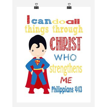 Superman Superhero Christian Nursery Decor Print - I Can Do All Things - Philippians 4:13