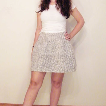 Free Shipping Hand Knit Chunky Sweater Skirt/ The Elsa Skirt/ Women's Grey White Skater Skirt