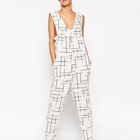 ASOS All In One Jumpsuit In Linea Print at asos.com