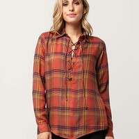 SKY AND SPARROW Lace Up Womens Plaid Shirt | Blouses