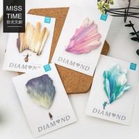 VONC1Y K32 Bright Colorful Diamond Paper Memo Pads Sticky Notes Stick Message Sticker Bookmark Marker of Page Stationery School Supply