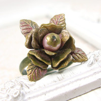 Dusty Pink Vintage Style Flower Ring - Shabby Chic Rose Ring - Antique Brass Bronze Victorian Rose Ring - Patina Jewelry