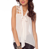 Oh Grate Sleeveless Top in Light Pink :: tobi