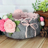 Handmade Pink Camellia Floral Felt Basket with Ribbon, Wedding Decor, Home/ Room Decor, Housewarming Gift, Birthday Gift, Handmade Gift