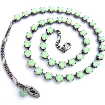 Swarovski crystal opal necklace, Chrysolite opals, 6mm calming mint green **SELECT-A-FINISH** Siggy Jewelry
