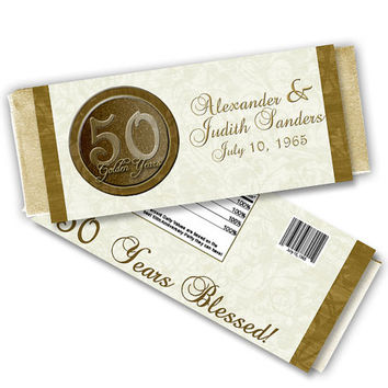 Vow Renewal Party Favors - 50th Wedding Anniversary Party - Gold Chocolate Candy Bar Wrapper Buffet Table - 50th Anniversary Party Ideas
