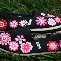 Pink White Red Flowers Original Custom Acrylic Painting for Toms Shoes