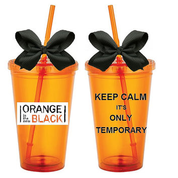 OITNB; Orange is the new black; Tumbler; Cute; Keep Calm; Cup; Lid; Straw