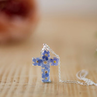 Real Flower Forget me Not Christian Cross Necklace - Sterling Silver