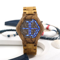 BOBO BIRD Men Women LED Digital Wood Watch Night Vision LED Watch Cool LED Display Clock with Unique LED Date Day Display