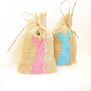 Easter Bunny Burlap Treat Bag ,Easter gift bags, easter treat bags, personalized easter bags, bunny bags,  Easter decorations, hello easter