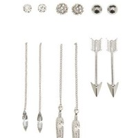 Silver Threader & Stud Earrings - 6 Pack by Charlotte Russe