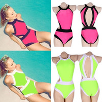 Stylish Lady Women Sexy Splicing Color Backless Hollow Out One-Piece Beach Swimwear F_F = 1904720452