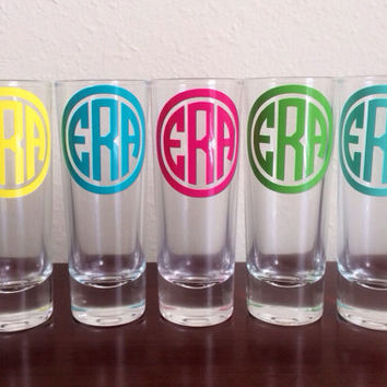 Set of 8 Personalized Monogrammed Shot Glasses. Great Bridesmaid Gift