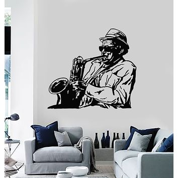 Vinyl Wall Decal Jazz Bar Playing Saxophonist Musician Instrument Music Stickers Mural (g2898)