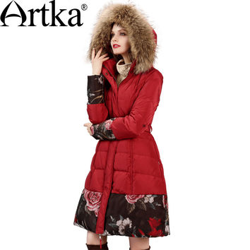 Artka Women's Winter New Floral Printed Patchwork Down Coat Vintage Hooded Fur Collar Long Sleeve Down Coat With Sashes ZK11867D