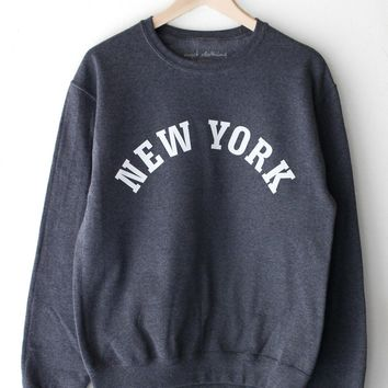 New York Oversized Sweatshirt - Dark Heather Grey