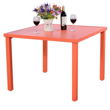 Patio Orange Slat Steel Outdoor Square Dining Table Furniture Garden Deck New