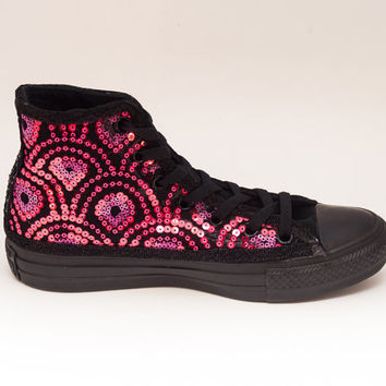 9281335e3f10 Sequin Hot Pink Feather Pattern on Black Sequin Converse Canvas Hi Top  Sneakers Shoes