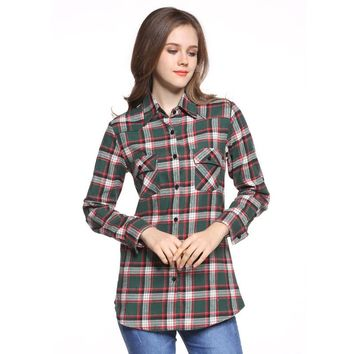 Ladies Tops Casual Women Loose Tops Cotton Blouse Long Sleeve Turn-down Collar Plaid Shirts Button Pocket Blusas Plus Size Z16