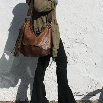 Tribal leather raw edges gypset rusted brown distressed hobo bohemian fringed bag fringe raw tote brown rusted hobo tribal