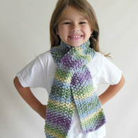Knit Scarf Toddler/Child Size in Purple, Green, Blue, Double Knit