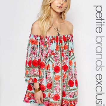 White Cove Petite All Over Floral Printed Off Shoulder Dress