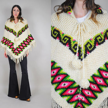 70's Aztec chevron sweater Poncho