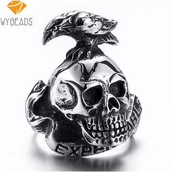 WYBEADS Titanium Steel Rings Finger Punk Style Expendables Skull 316L Stainless Steel For Men Ring Party Birthday Jewelry