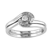 Round-Cut Diamond Swirl Engagement Ring Set in Sterling Silver (1/7 ct. T.W.) (White)