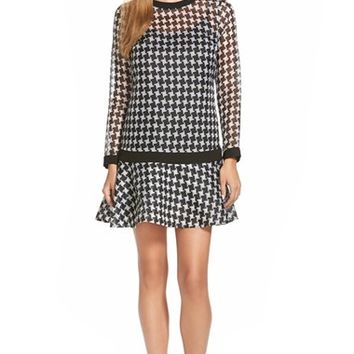 Women's MICHAEL Michael Kors 'Sutter' Houndstooth Drop Waist Silk Dress,