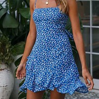 Boho Floral Print Mini Ruffles Dresses Women Spaghetti Strap Sleeveless Beach Sundress