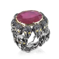 Bernard Delettrez Designer Rings Skulls and Snakes Black Ring w/Glass-treated Ruby