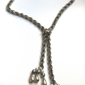 Lariat Necklace, Chunky Necklace, Vintage Jewelry, Slider Bolo Necklace, Vintage Necklace, Silver Tone Twisted Rope Chain, Faux Pearl Lariat