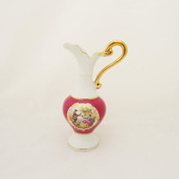Vintage Limoges  Pitcher, Limoges  Jug, Limoges Jug in Burgundy/Pink and White, Collectable Limoges