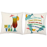 Set of 2 Retro Mai Tai Print Pillows - Drink Recipe Throw Pillow Covers with or without Cushion Inserts - Mid-Century, Cocktail Print, Mod