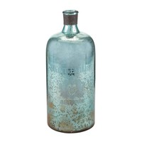 "13"" Aqua Antique Mercury Glass Bottle"