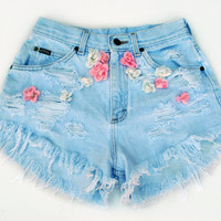 Vintage Coachella Festival Rose Flower High Waisted Denim Shorts Size 27