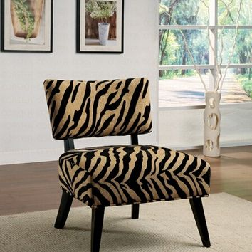 A.M.B. Furniture & Design :: Living room furniture :: Accent chairs :: Zebra print microfiber oversized accent chair with walnut finish wood legs