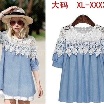 New Women Summer Loosed Jeans blue lace see through T shirt Chiffon Bat wing Dolman Casual Tops Blouse  L-XXXXXL = 1697625796